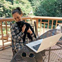 Sitting outside working as freelance writer