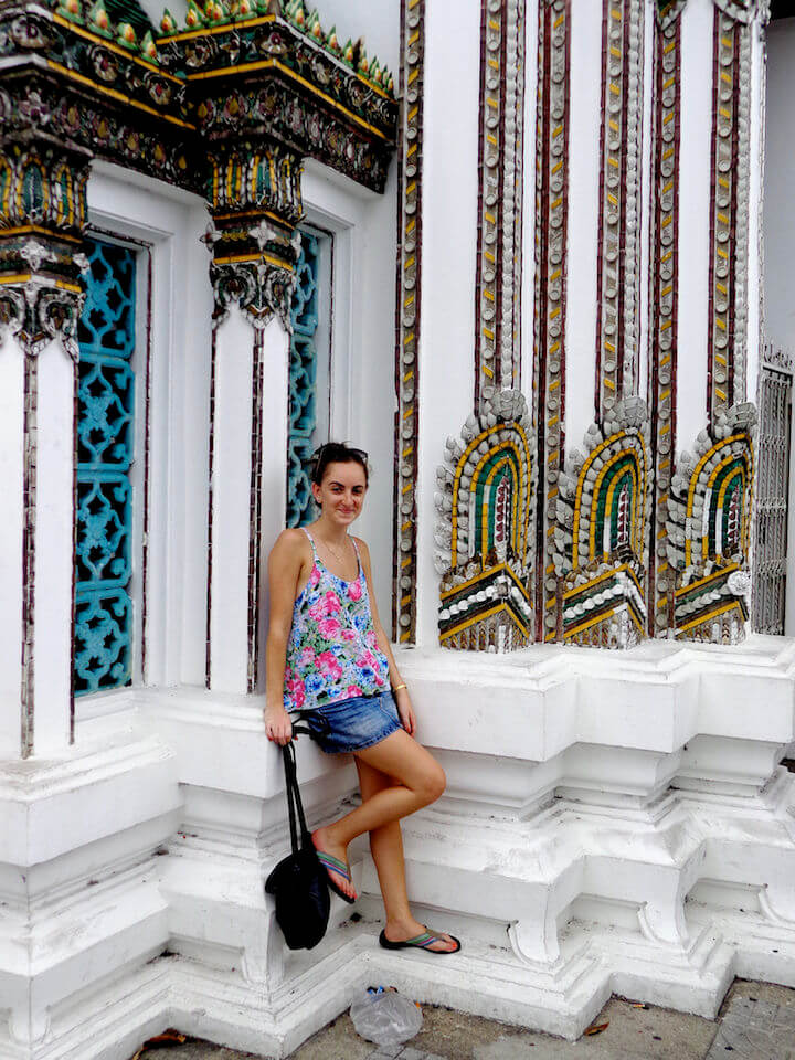 Standing in front of a wat in Bangkok