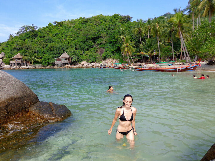 Swimming at Sai Nuan Beach in Koh Tao Thailand