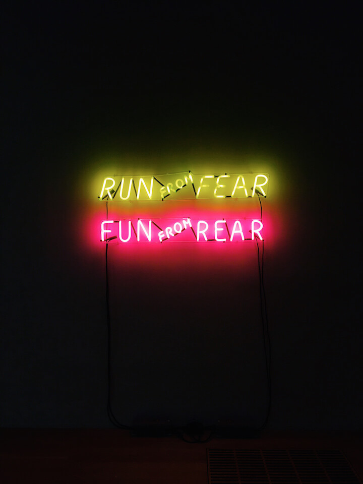 Run from fear sign in Tate Modern