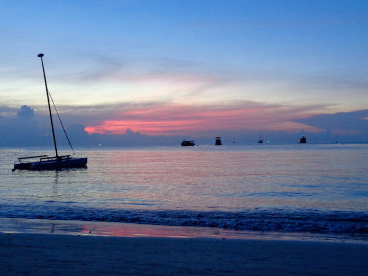 Sunset on the beach in Koh Tao, Thailand