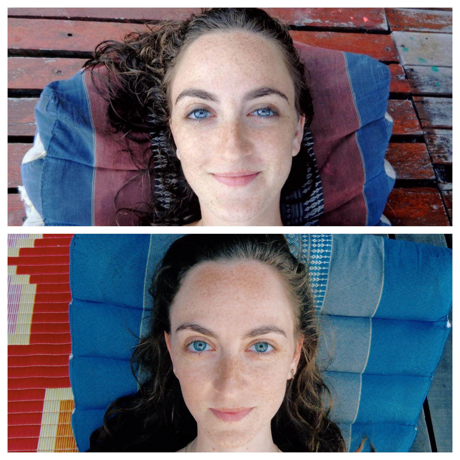 Beach selfie in Koh Phangan, Thailand. Comparing 5 years ago to now.