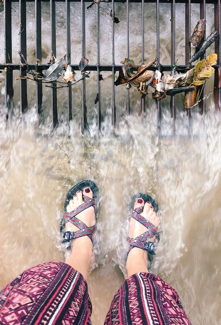 A street became a river in the Koh Tao rains