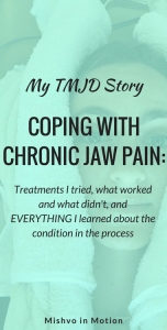 I've struggled with chronic jaw pain for over a year. Here's a post on treatments I tried, what worked and what didn't, and EVERYTHING I learned about the condition in the process