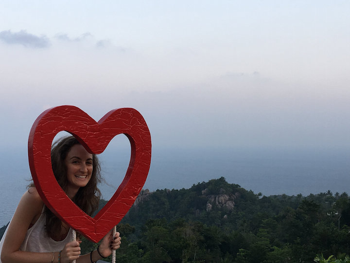 Heart around my face at Love Koh Tao viewpoint