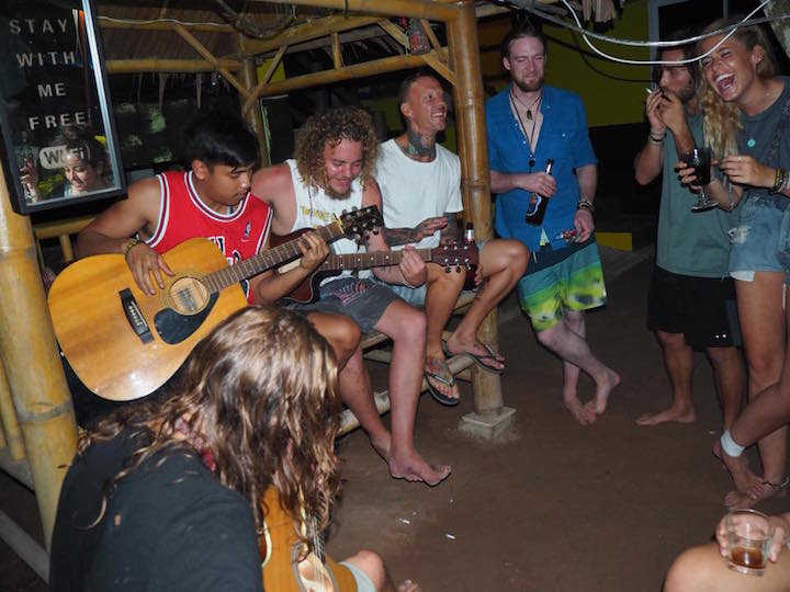 Singing together at the hive hostel in Koh Tao