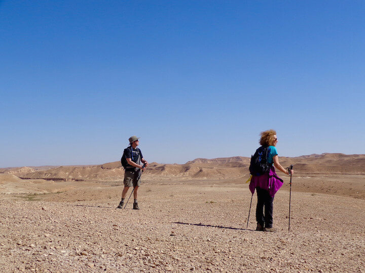 My parents hiking in Makhtesh Ramon in Israel