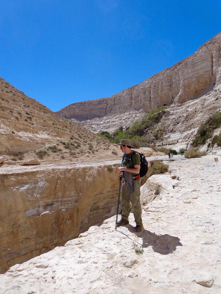 My dad hiking in Ein Avdat in the Negev desert