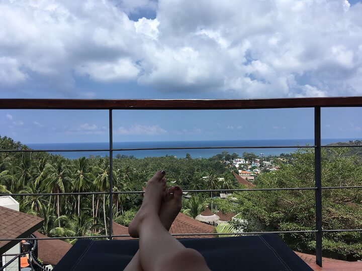 Laying down view of Koh Tao from Tarna Align Resort