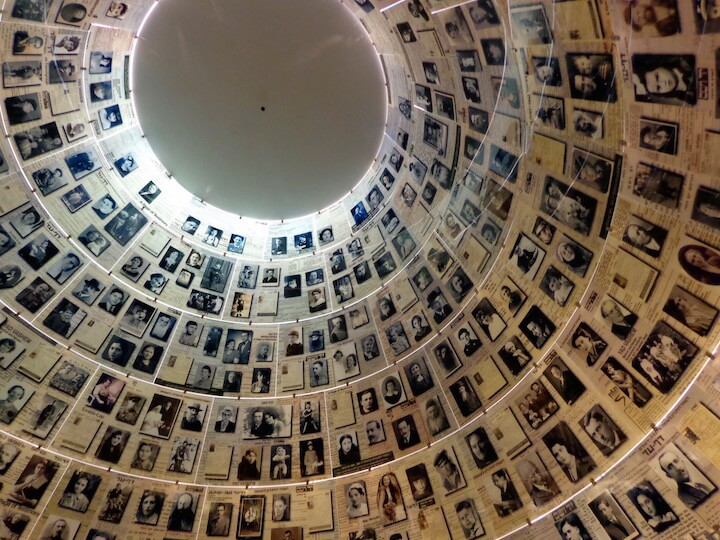 Looking up at the ceiling in the Hall of Names in Yad Vashem in Jerusalem