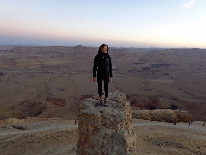 Standing on Har Gamal at sunset in Mitzpe Ramon