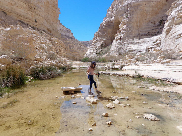 Hiking through Ein Avdat in Israel