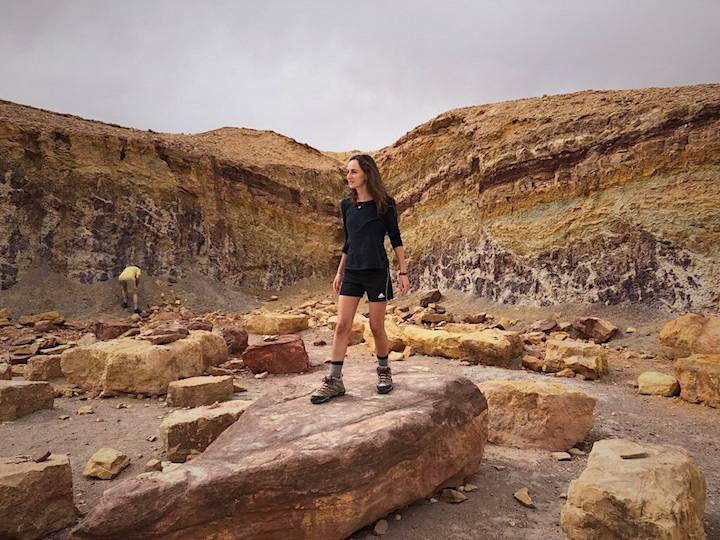 Standing amongst the rocks in Makhtesh Ramon