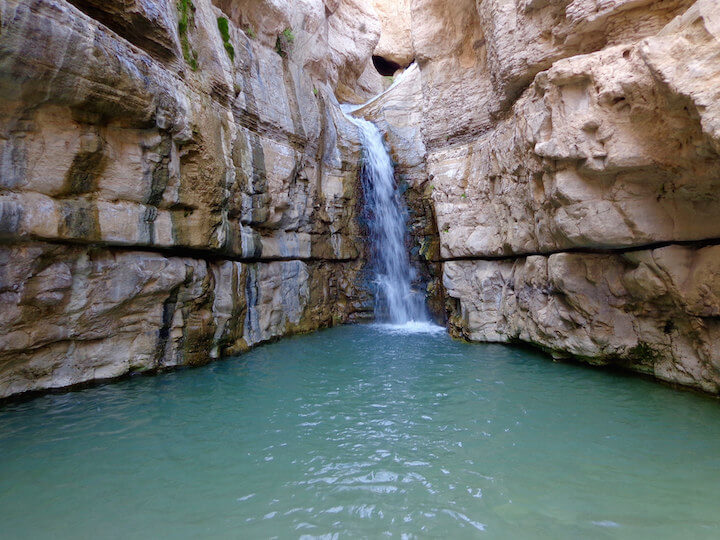 Hidden waterfall in Wadi Arugot