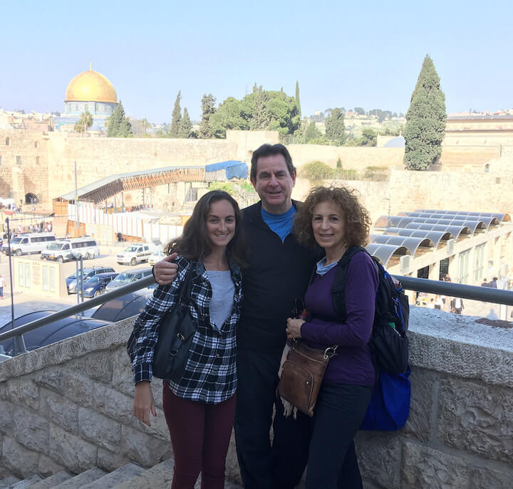 Family photo in front of Western Wall and Dome of the Rock