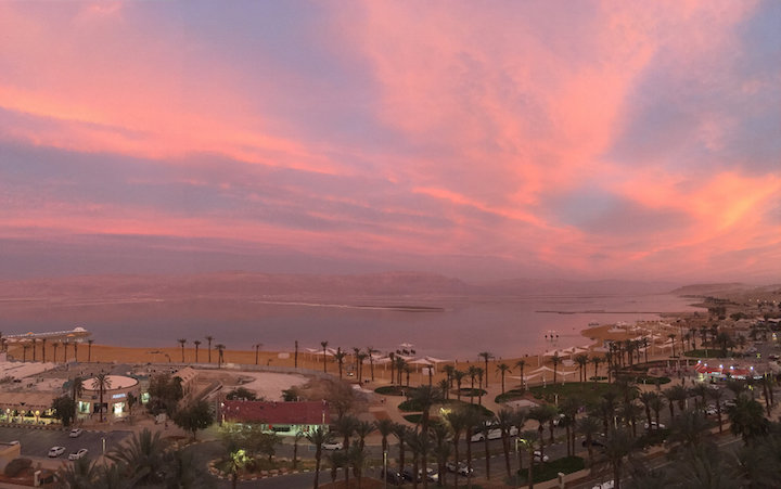 Pink sunset over the Dead Sea