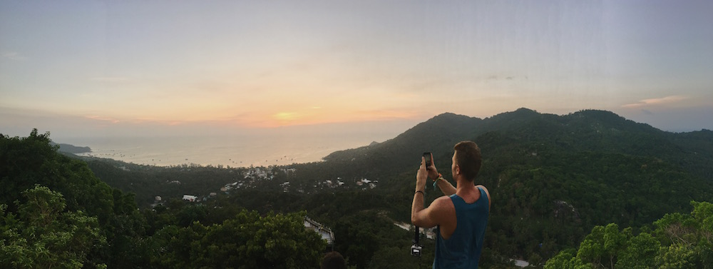Panorama from Fraggle Rock hike viewpoint in Koh Tao