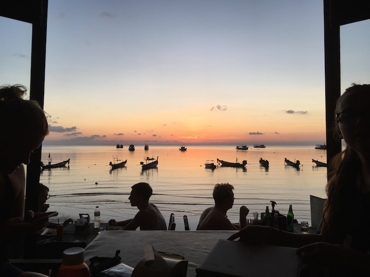 Sunset at dinner on Sairee Beach in Koh Tao