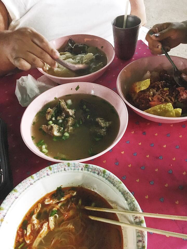 Eating soup at the night market on Koh Tao
