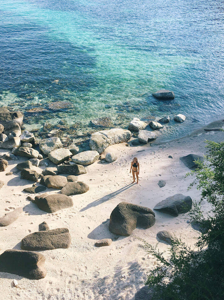 Standing on Laem Thian in Koh Tao shot from above