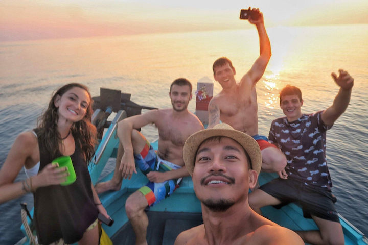 Koh Tao friends on a boat trip