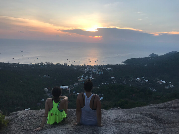 View of sunsen and Sairee from Fraggle Rock in Koh Tao