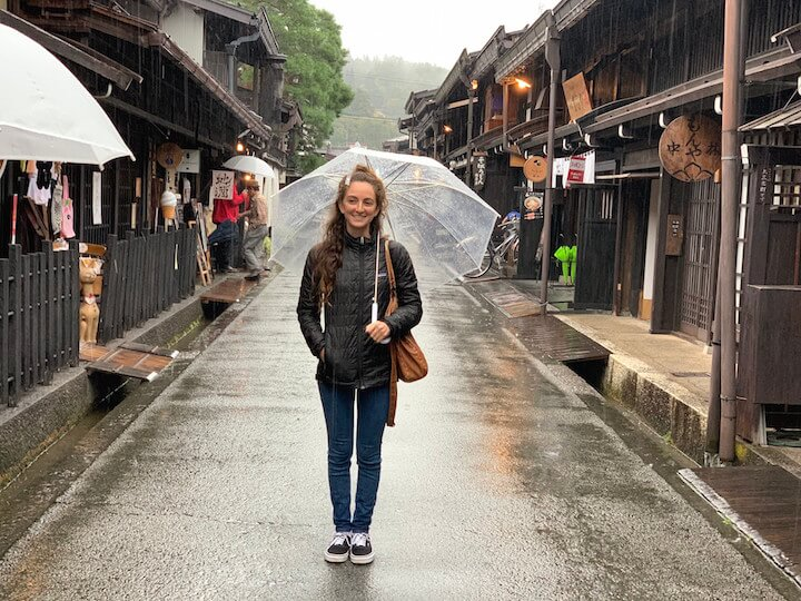 Girl with umbrella in streets of Takayama, Japam