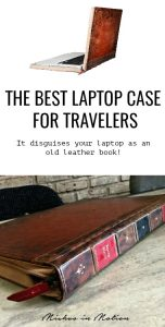 I love my BookBook laptop case and take it everywhere I go while traveling. It makes my laptop look like an old leather book!