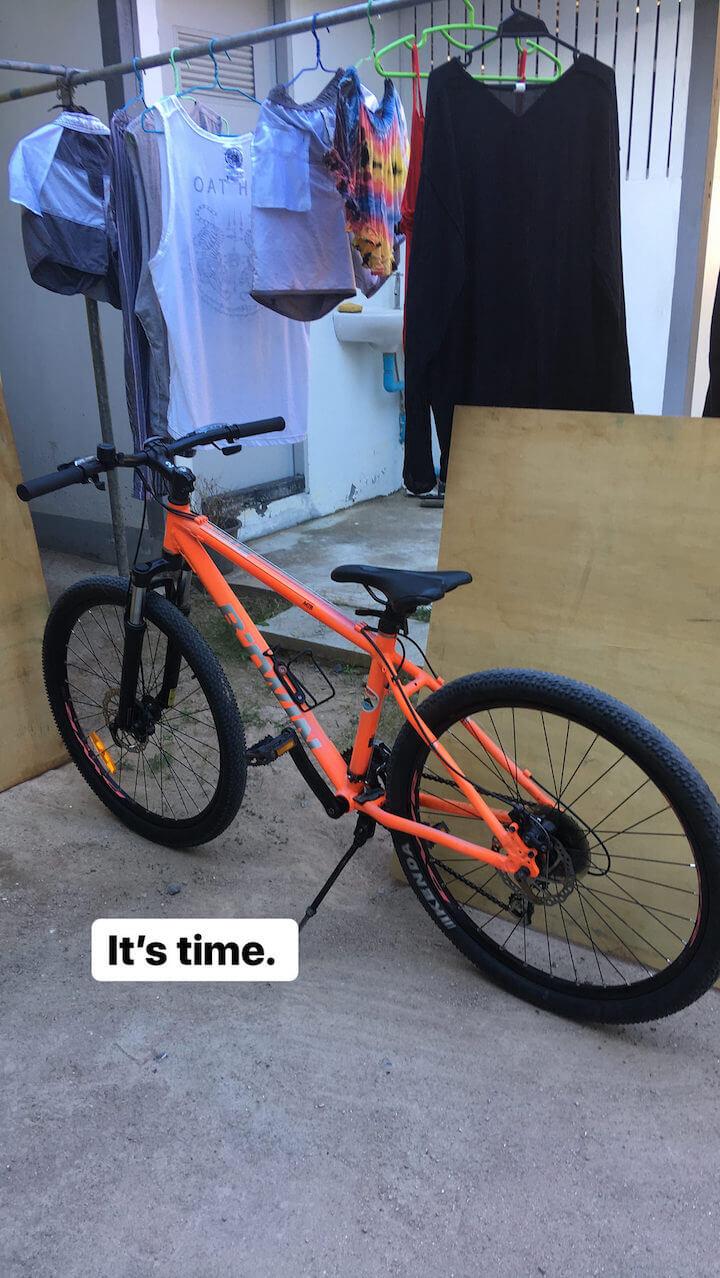 Orange bicycle in Koh Tao