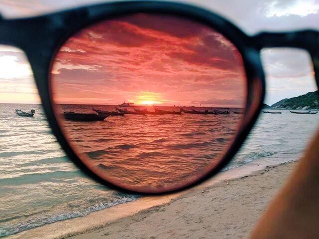 Koh Tao sunset through sunglasses