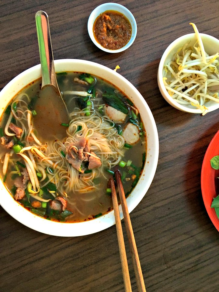 Eating pho in Vientiane