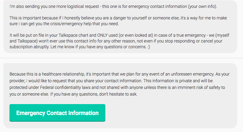 Talkspace prompt for emergency contact information