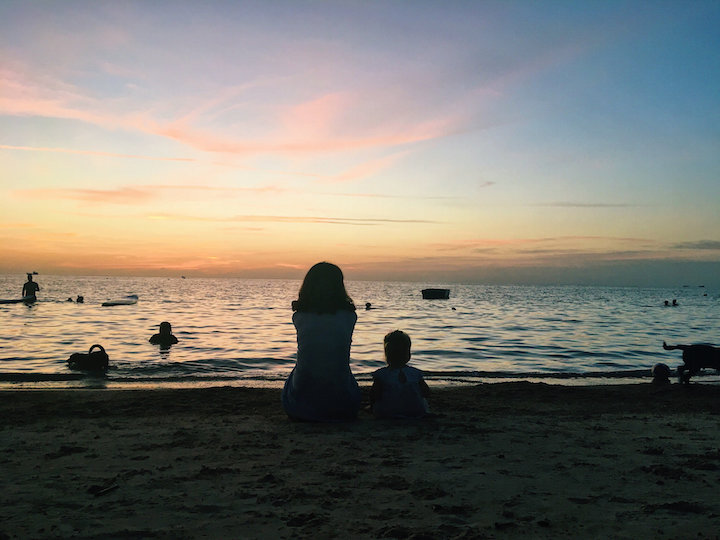 Sunset silhouettes at Sairee Beach on Koh Tao