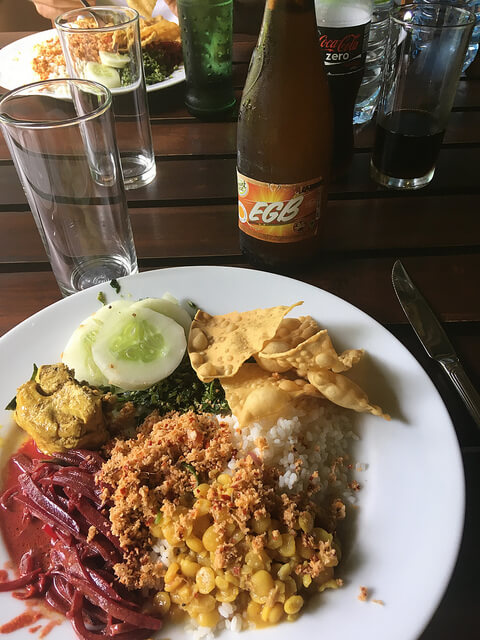 Vegetable rice and curry meal in Sri Lanka