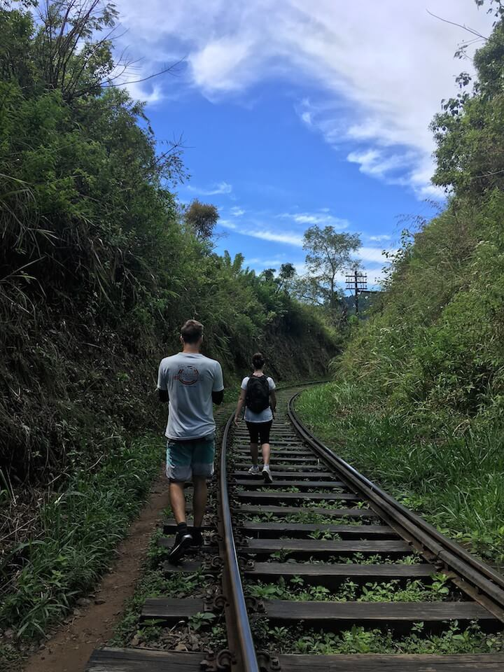 Hiking along the railroad tracks in Ella, Sri Lanka