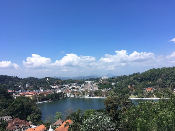 2 week Sri Lanka itinerary: View of Kandy town and lake in Sri Lanka