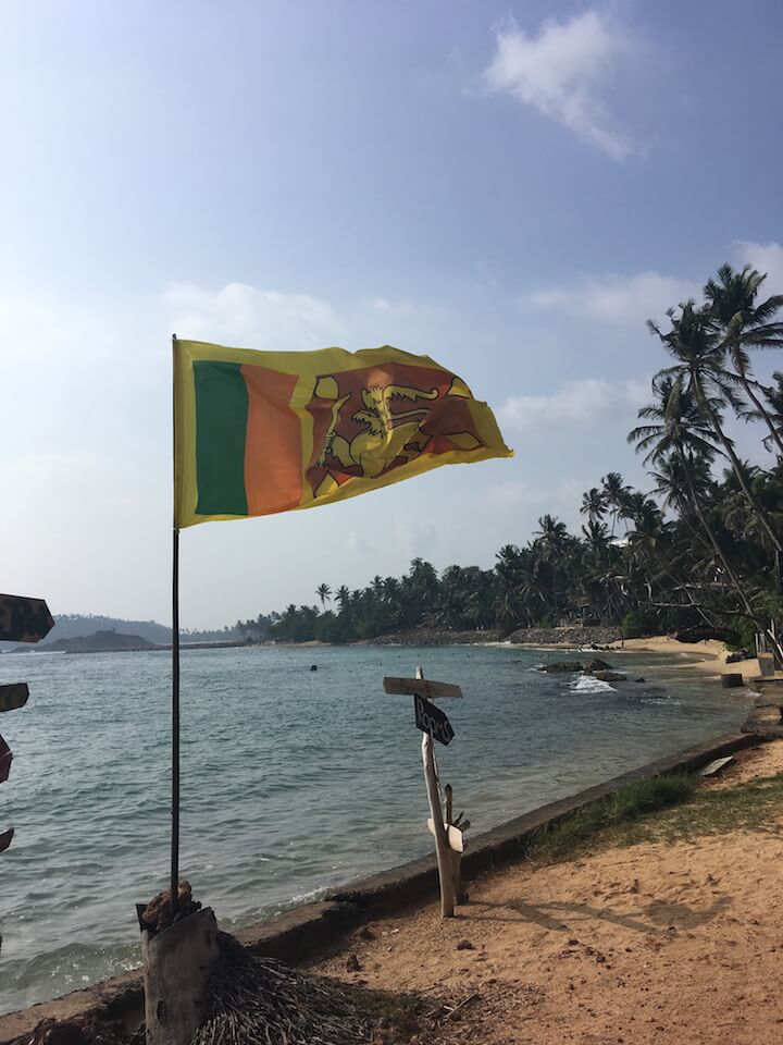 Sri Lanka flag at the beach in Mirissa