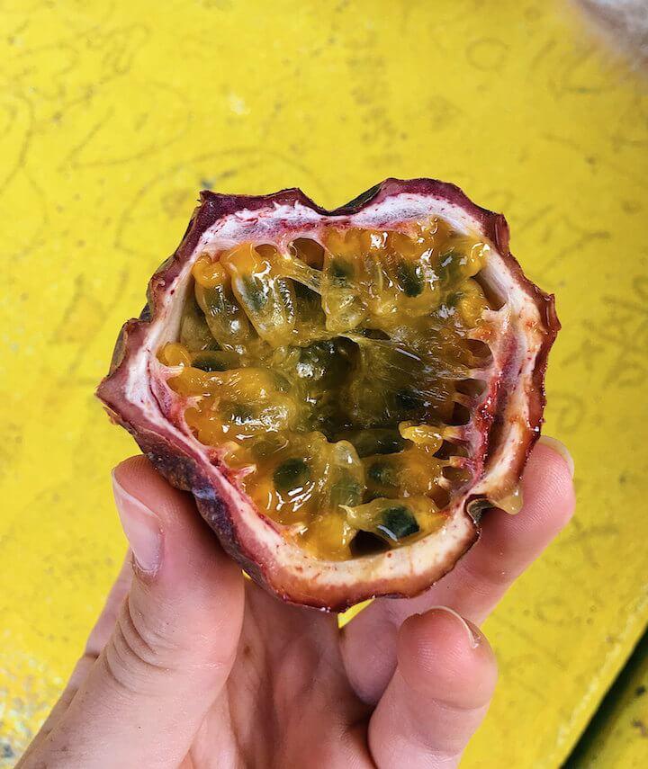 Passion fruit cut open