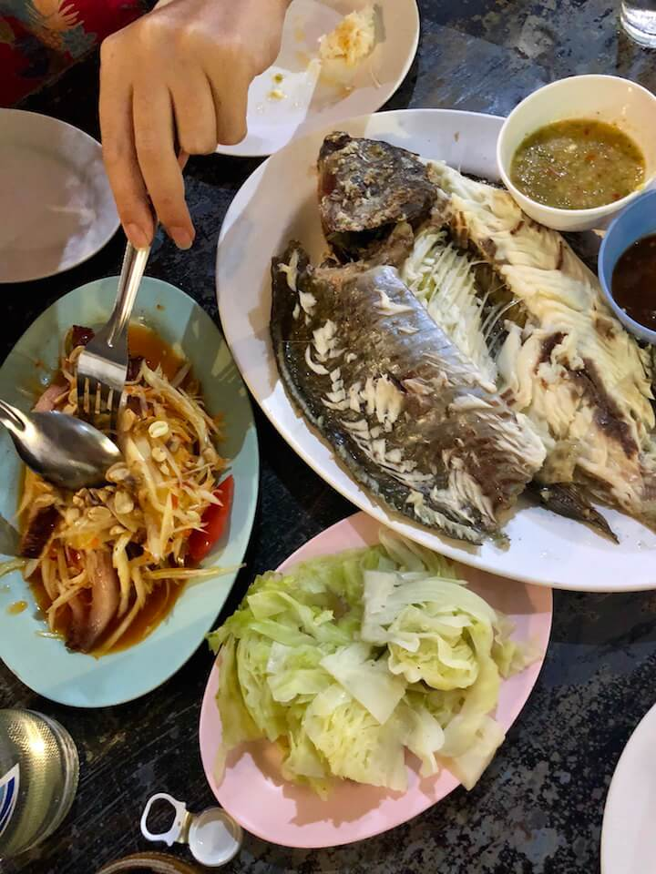 Bla Pao or salted grilled fish Thai food