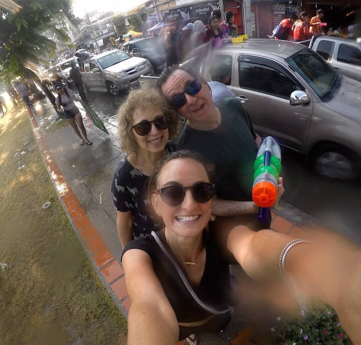 Farang family at Songkran in Chiang Mai, Thailand