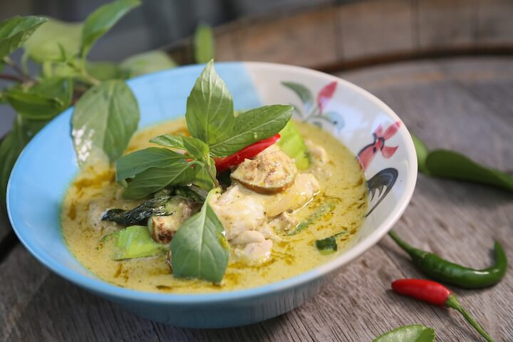 Green curry chicken in Thailand