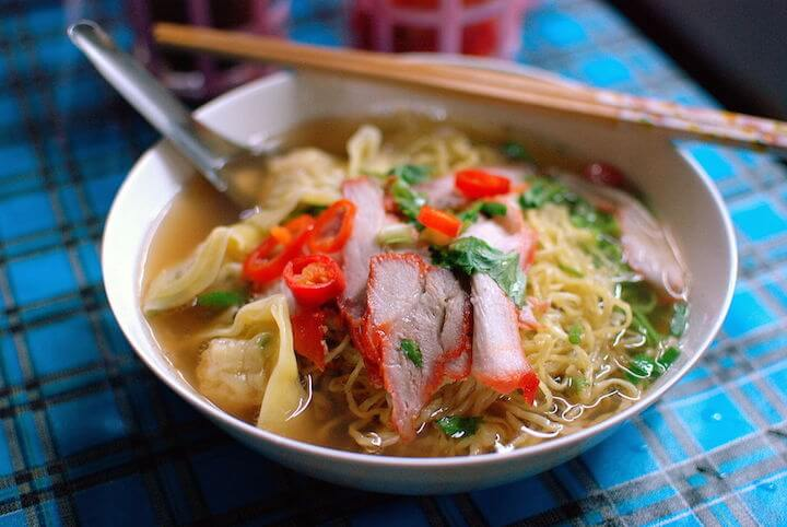 Red pork Thai noodle soup