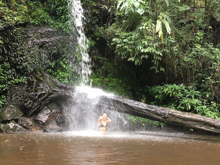 Swimming in Monthathan Waterfall in Chiang Mai