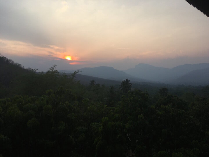 Sunset in mountains in Doi Inthanon, Thailand in the hot season