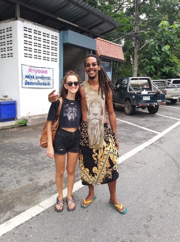 Girl and guy in Chiang Mai in animal shirts