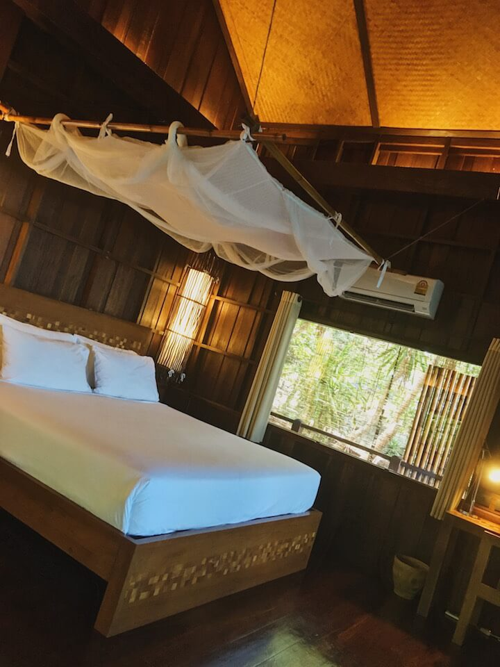 Bedroom of private luxury pool villa in Koh Tao