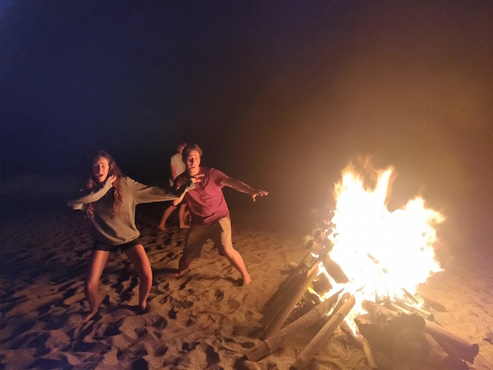 Bonfire on the beach in Bali