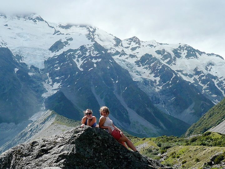Girls hiking in New Zealand's Southern Alps
