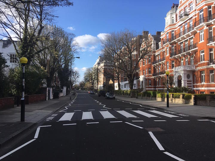 Empty Abbey Road crossing in London during quarantine