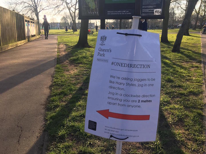 Sign in Queen's Park in London during quarantine